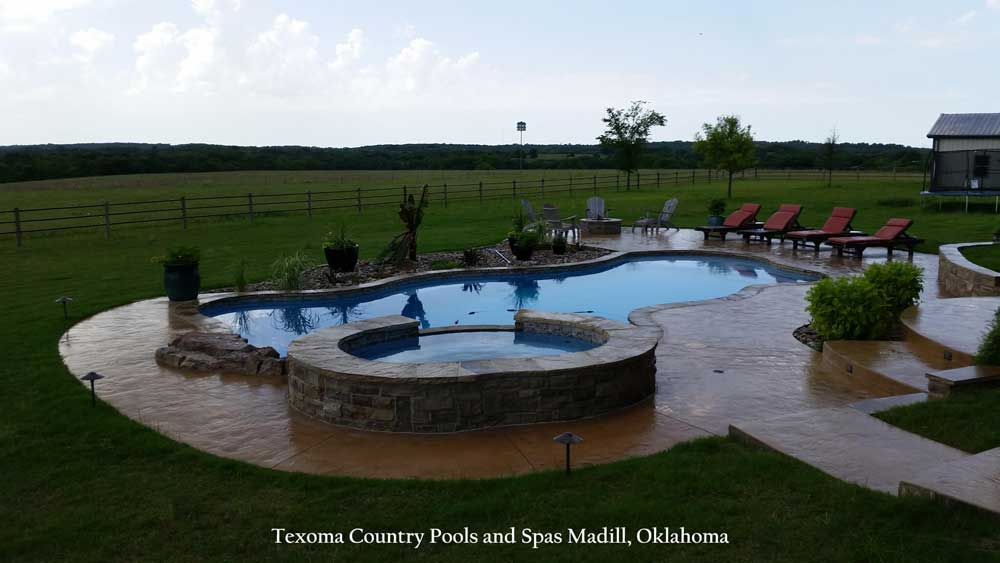 inground pool madill oklahoma dusk