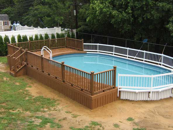 above ground pool wooden deck